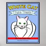 White Cat Tuna Treats Sign Print