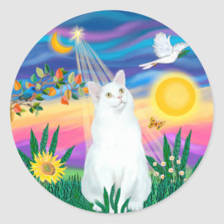 White Cat - Twilight Classic Round Sticker