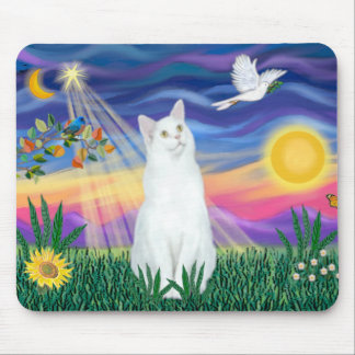 White Cat - Twilight Mouse Pad