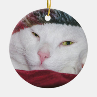 White Cat Under a Blanket Ornaments