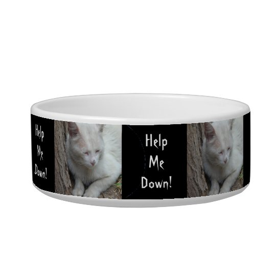 White Cat up a Tree - Help Me Down! Bowl
