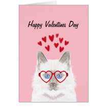 White Cat Valentines Love Card