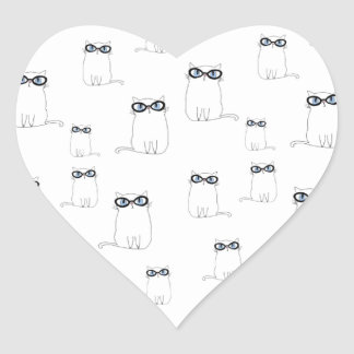 White Cat Wearing Glasses Heart Sticker