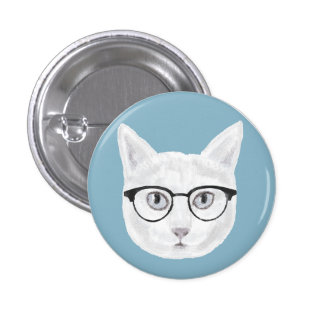 White Cat Wearing Glasses Pinback Button