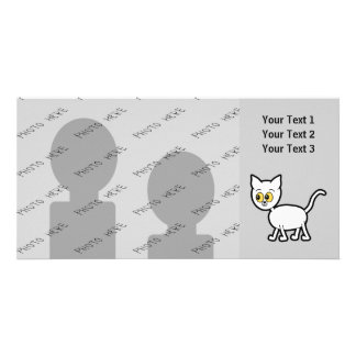 White Cat with Amber Color Eyes. Card