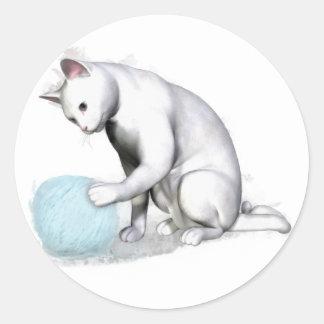 White Cat with Ball of Yarn Classic Round Sticker
