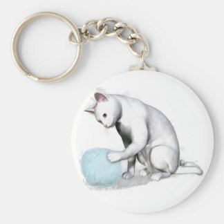 White Cat with Ball of Yarn Basic Round Button Keychain