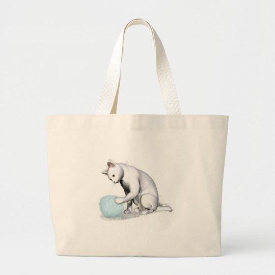 White Cat with Ball of Yarn Large Tote Bag