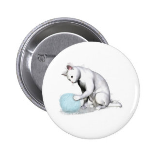 White Cat with Ball of Yarn Pinback Buttons