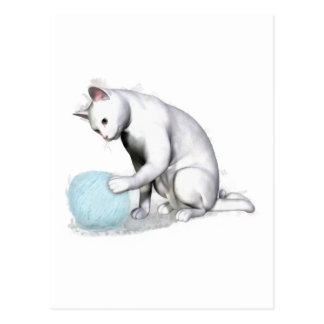 White Cat with Ball of Yarn Postcard