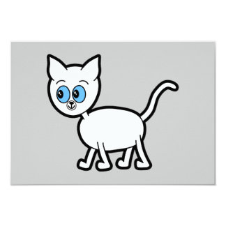 White Cat with Blue Eyes. Card