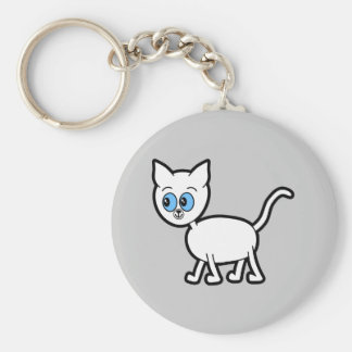 White Cat with Blue Eyes. Keychain