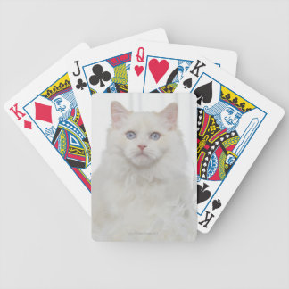 White Cat with Feathers Bicycle Playing Cards