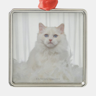 White Cat with Feathers Metal Ornament