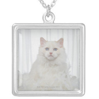 White Cat with Feathers Square Pendant Necklace