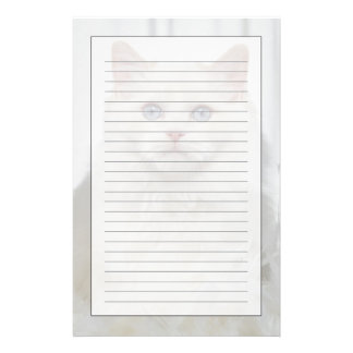 White Cat with Feathers Stationery