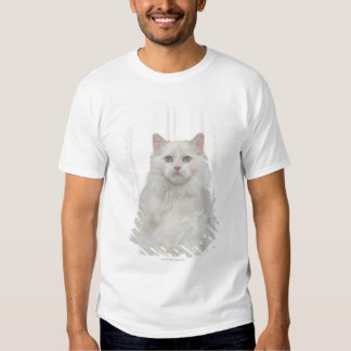 White Cat with Feathers Tee Shirt