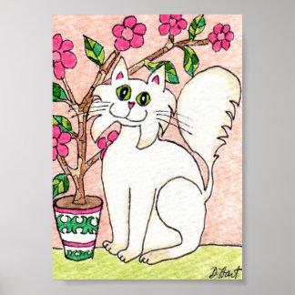 White Cat with Flowering Bonsai Tree Mini Folk Art Poster