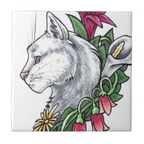 White Cat with Flowers Ceramic Tile