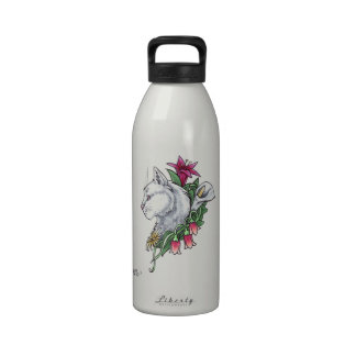 White Cat with Flowers Water Bottles