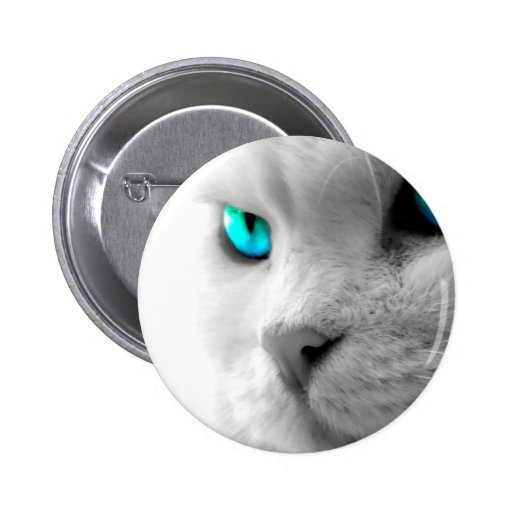 White Cat with Green Blue Eyes 2 Inch Round Button