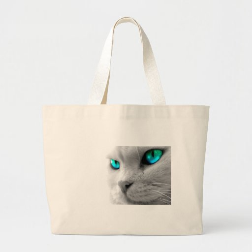 White Cat with Green Blue Eyes Canvas Bags