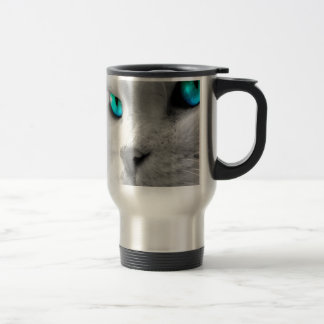 White Cat with Green Blue Eyes Mugs