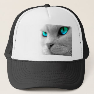 White Cat with Green Blue Eyes Trucker Hat