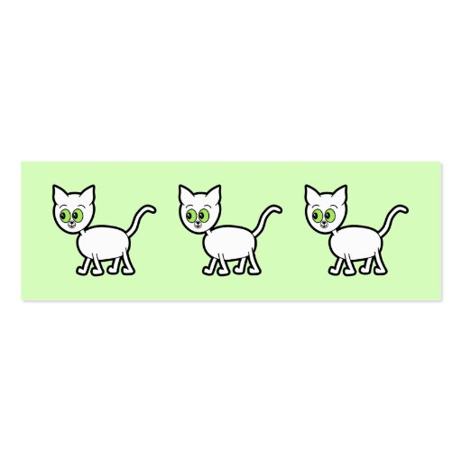 White Cat with Green Eyes. Double-Sided Mini Business Cards (Pack Of 20)