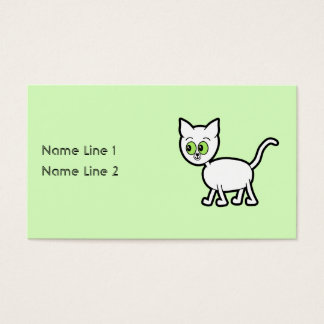 White Cat with Green Eyes. Business Card