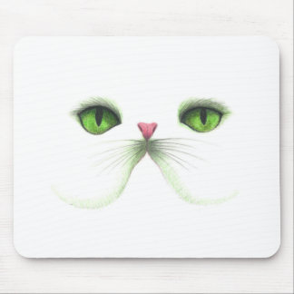 white cat with green eyes mouse pad