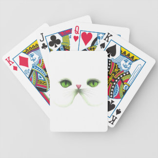 white cat with green eyes card deck