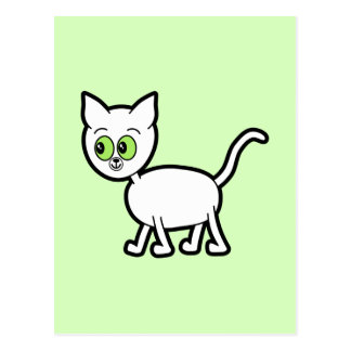 White Cat with Green Eyes. Postcard