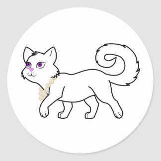 White Cat with Pearl Necklace Classic Round Sticker