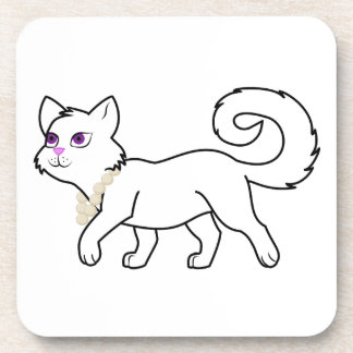 White Cat with Pearl Necklace Coasters
