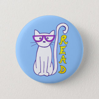White Cat with Purple Glasses with Read Sign Button