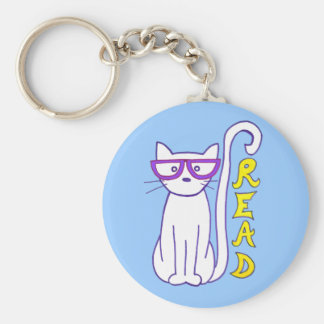 White Cat with Purple Glasses with Read Sign Keychain