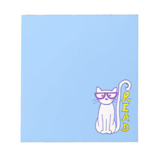 White Cat with Purple Glasses with Read Sign Notepad