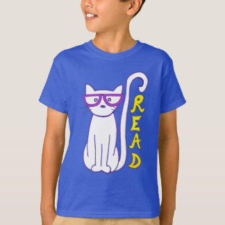 White Cat with Purple Glasses with Read Sign T-Shirt
