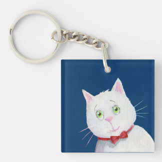 White Cat with Red Bow -  Acrylic Keychain