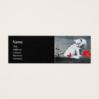 WHITE CAT WITH RED BUTTERFLY MONOGRAM  pearl paper Mini Business Card