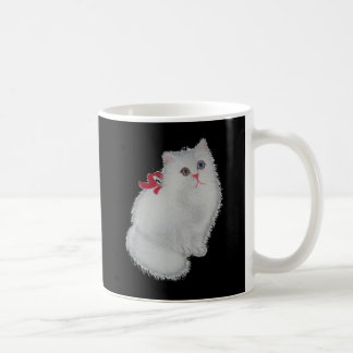 White cat with red ribbon coffee mug