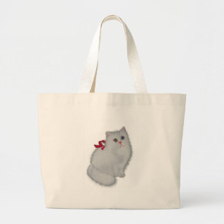 White Cat with Red Ribbon Large Tote Bag