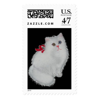 White Cat with Red Ribbon Postage