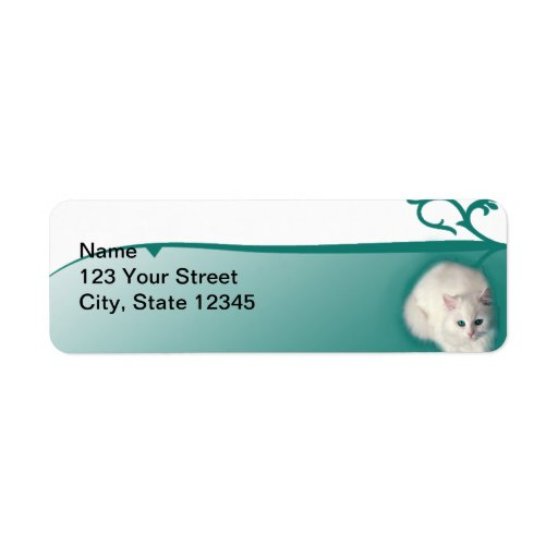 White Cat with Turquoise Eyes Return Address Labels