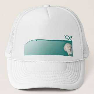 White Cat with Turquoise Eyes Trucker Hat