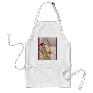 white cat woman lady white purple silk bed adult apron
