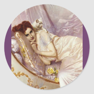 white cat woman lady white purple silk bed classic round sticker