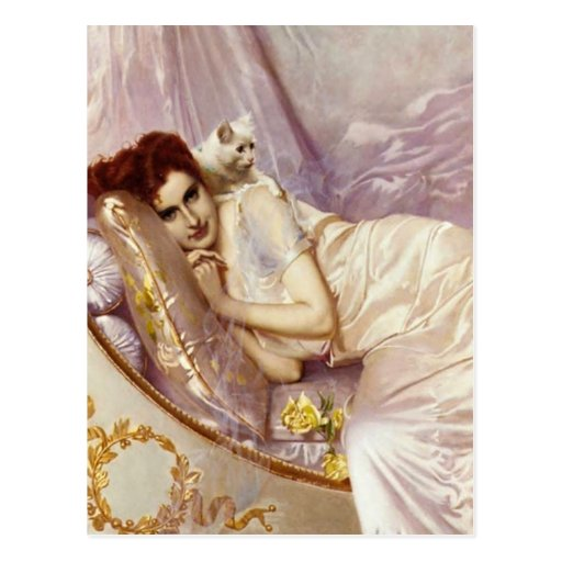 white cat woman lady white purple silk bed postcards