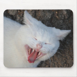 White cat yawning mouse pad